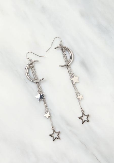 Silver Moon & Star Dangle Earrings