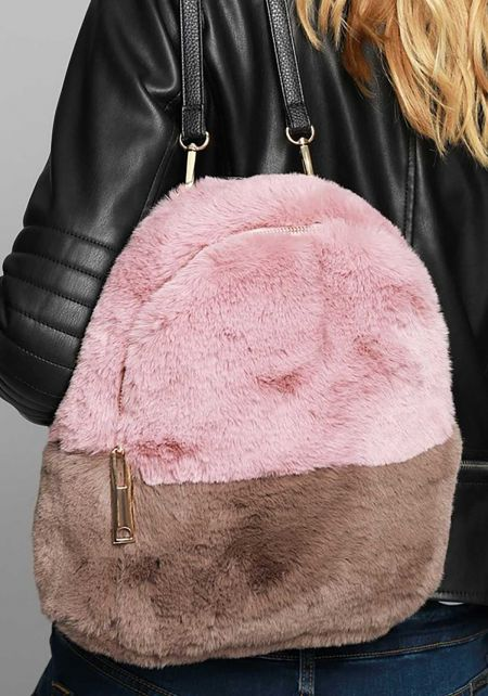 Dusty Pink Color Block Faux Fur Backpack