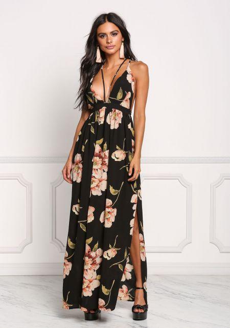 Black Plunge Two Strap Floral Maxi Dress