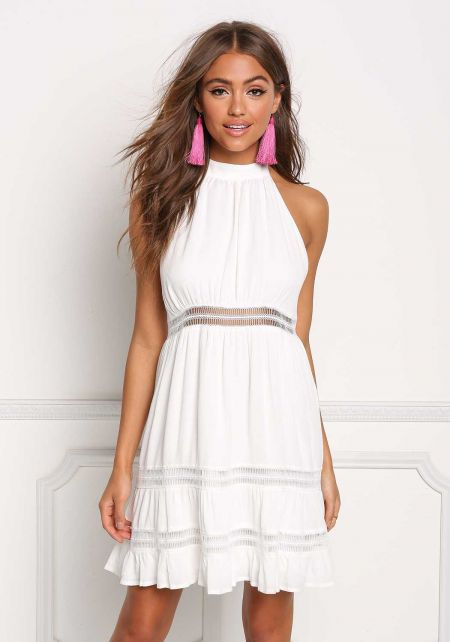 Ivory Crepe Crochet Trim Halter Dress