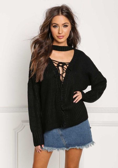 Black Plunge Lace Up Thick Knit Sweater Top