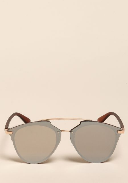 Silver Curved Aviator Club Master Sunglasses