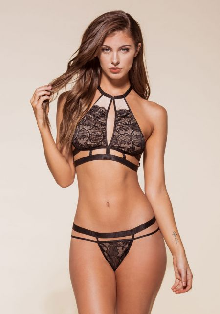 Black Lace Caged Halter Bralette