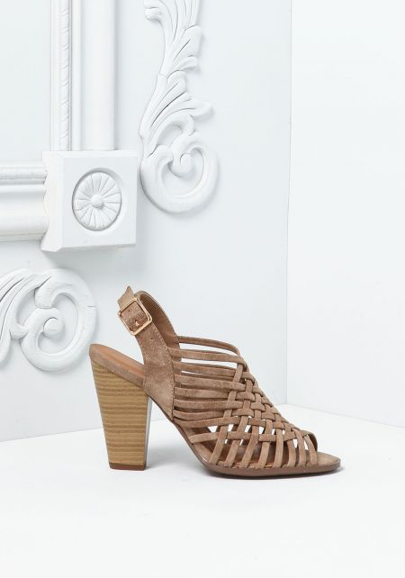 Taupe Suedette Multi Cross Strap Heels