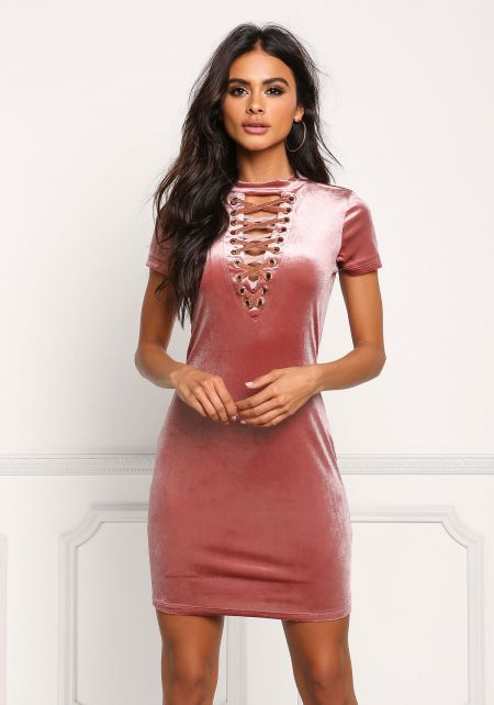 Mauve Velvet Lace Up Bodycon Dress