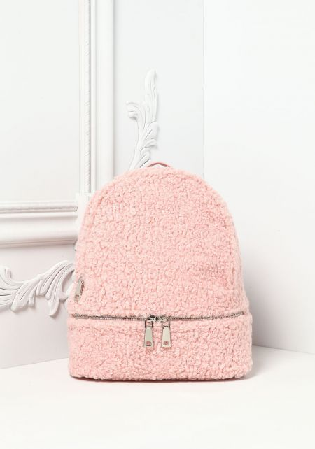 Pink Faux Shearling Backpack