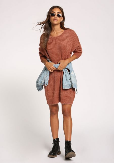 Mauve Fuzzy Knit Tunic Sweater Top