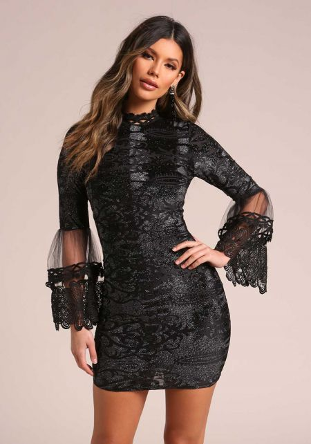 Black Sparkle Embroidered Tulle Bell Sleeve Dress