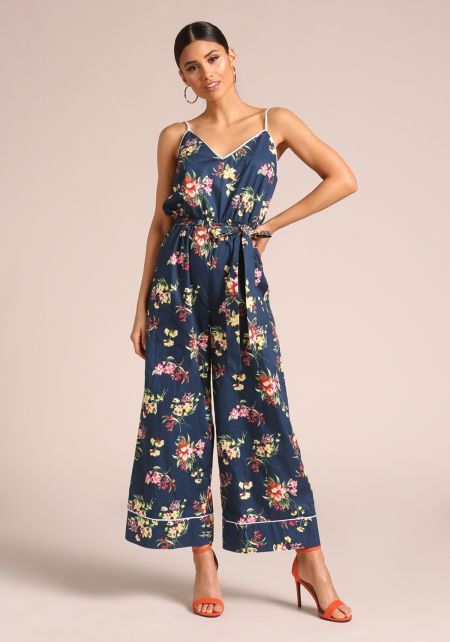 Navy Floral Wide Legged Jumpsuit