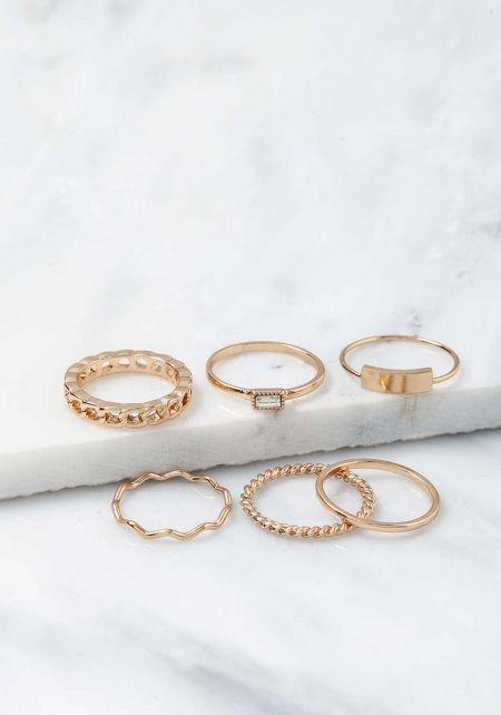 Gold Assorted Rings Set