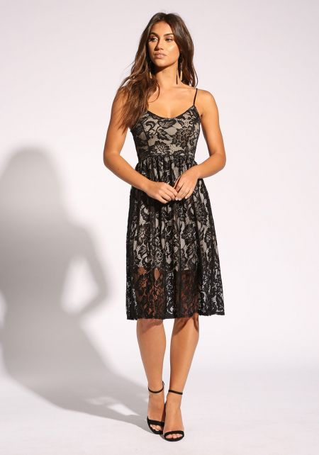 Black Floral Lace Flared Dress