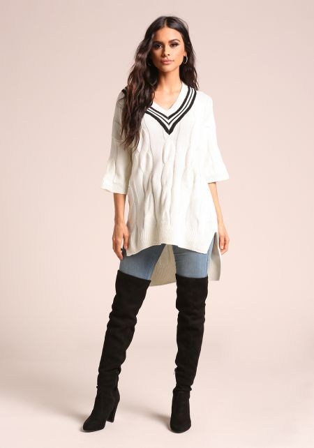 White Cable Knit Stripe Hi-Lo Sweater Top