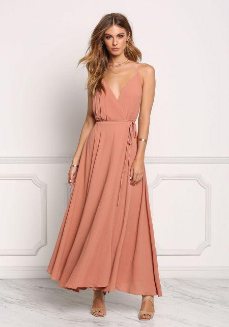 Apricot Low Back Wrap Maxi Dress