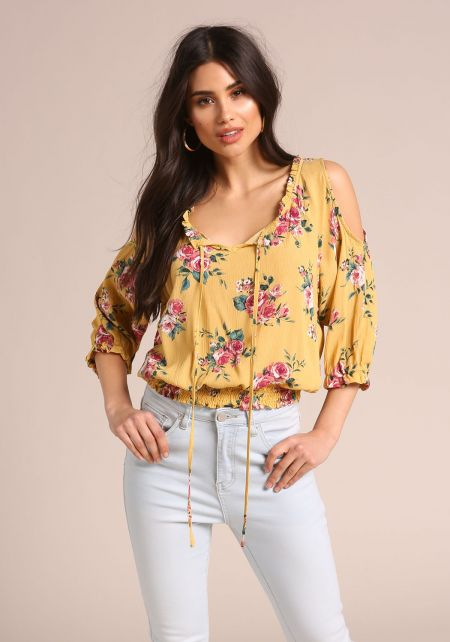 Mustard Rose Crepe Cold Shoulder Blouse