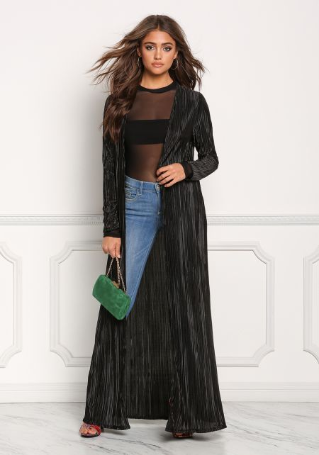 Black Lustrous Pleated Longlined Duster