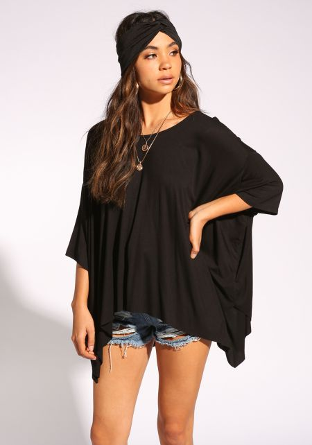 Black Jersey Knit Dolman Top