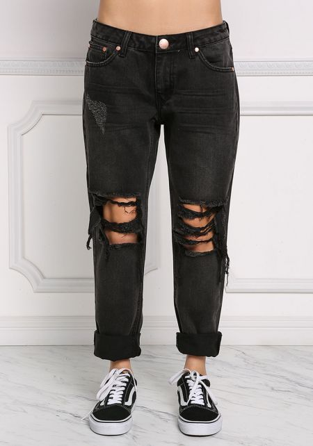 Black Distressed Boyfriend Jeans