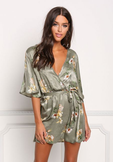 Sage Silky Floral Kimono Shift Dress