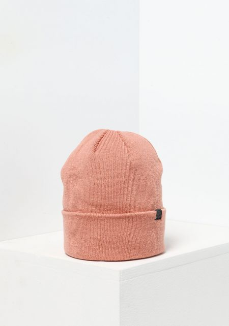 Dusty Pink Ribbed Knit Beanie
