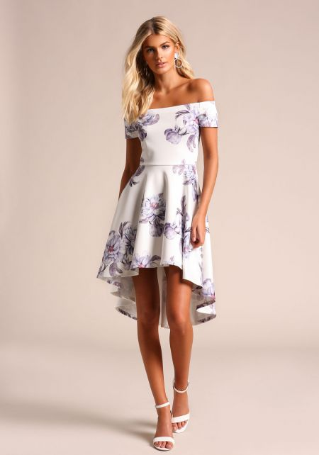 White Floral Hi-Lo Flared Dress