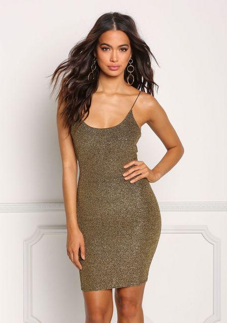 Gold Metallic Sleek Bodycon Dress