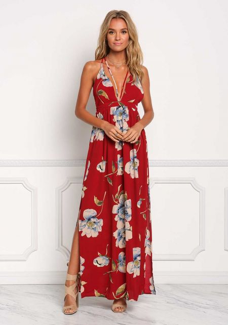 Dark Red Plunge Two Strap Floral Maxi Dress
