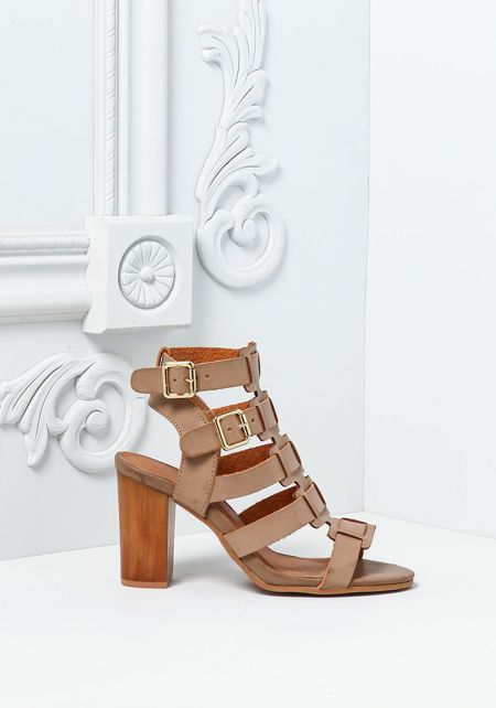 Taupe Leatherette Buckle Strap Stacked Heels
