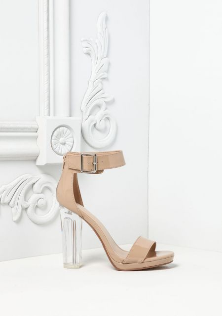 Dark Beige Patent Leatherette Ankle Strap Clear Heels
