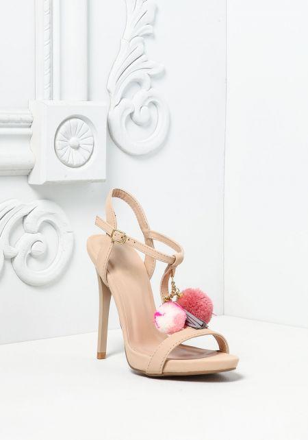 Nude Leatherette Pom Pom Heels