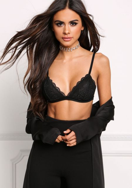 Black Lace Scallop Bralette