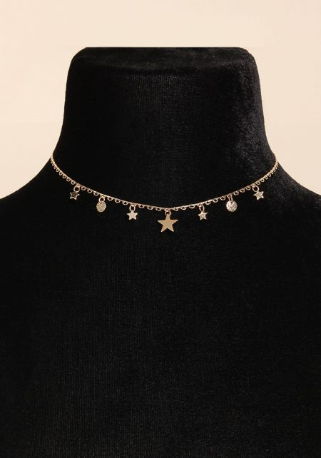 Gold Star Charm Choker