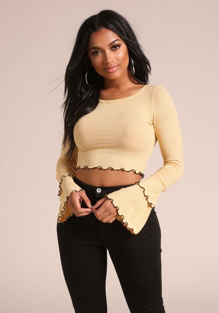 Mustard Stripe Tiered Bell Sleeve Crop Top