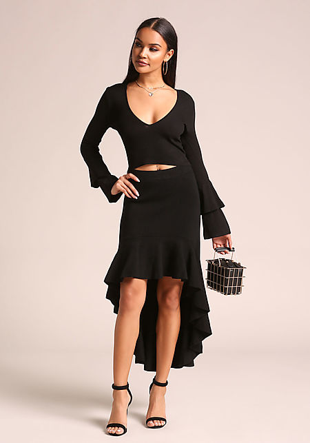 Black Tiered Bell Sleeve Crop Top