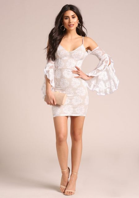 White Lace Bell Sleeve Bodycon Dress