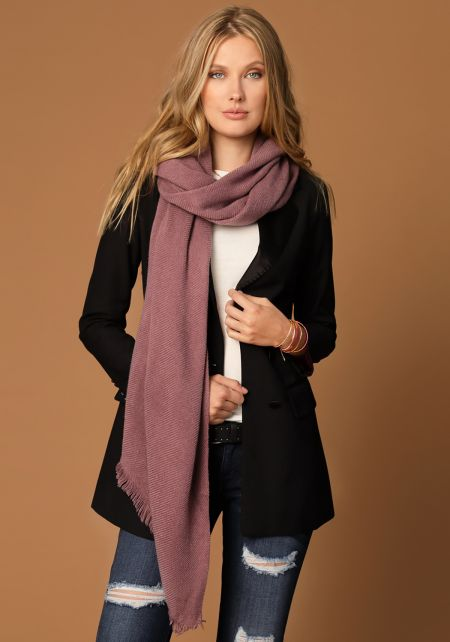 Mauve Long Ribbed Knit Scarf