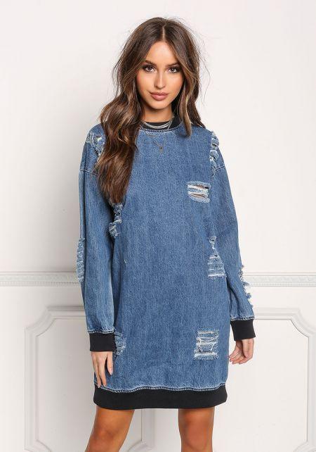 Denim Distressed Ribbed Knit Shift Dress
