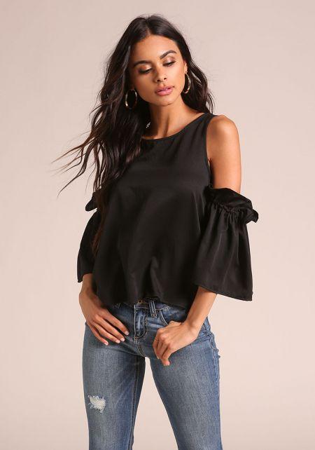 Black Satin Cold Shoulder Puff Sleeve Blouse