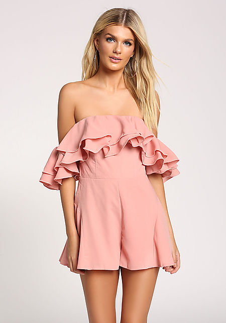 Dusty Pink Ruffle Tiered Off Shoulder Romper