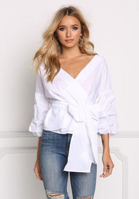 White Ruched Sleeve Tie Front Blouse