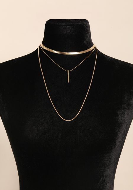 Gold Layered Bar Pendant Necklace