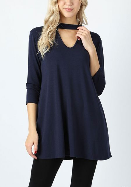 Navy Jersey Knit Cut Out Pocket Top