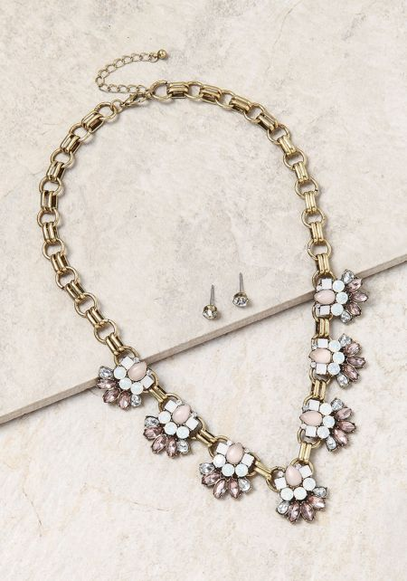 Light Pink Flower Thick Chain Choker