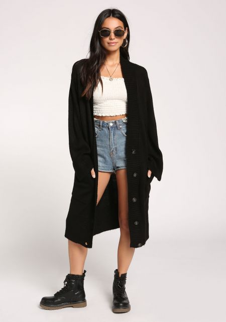 Black Pocket Button Down Longlined Cardigan