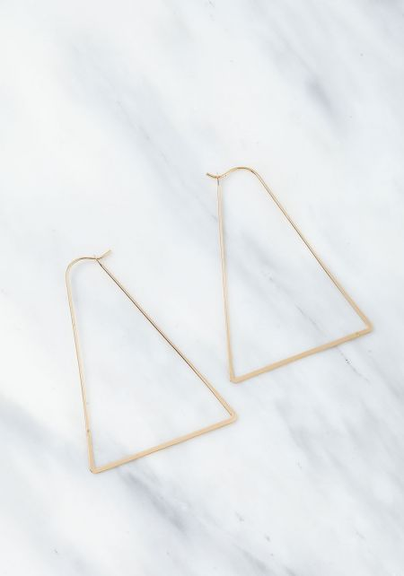 Gold Thin Wire Triangle Earrings