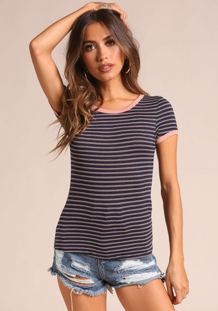 Navy Outlined Stripe Tee
