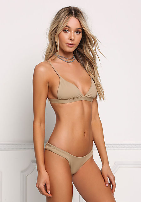 Beige Low Rise Swimsuit Bikini Bottoms