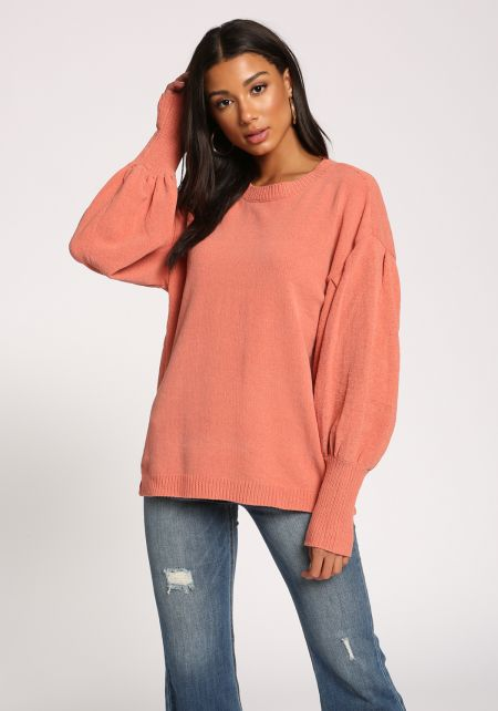 Blush Puff Sleeve Ribbed Knit Sweater Top