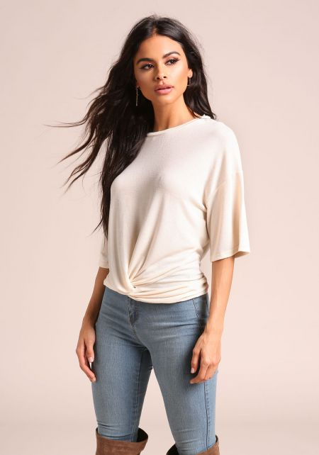 Cream Twisted Front Knit Top