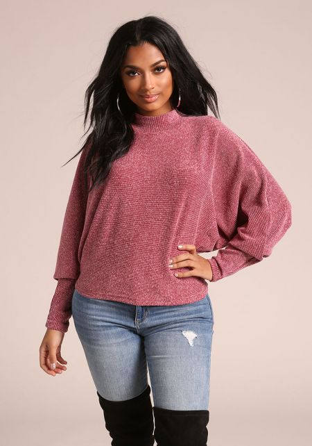 Burgundy Marled Ribbed Knit Dolman Sweater Top