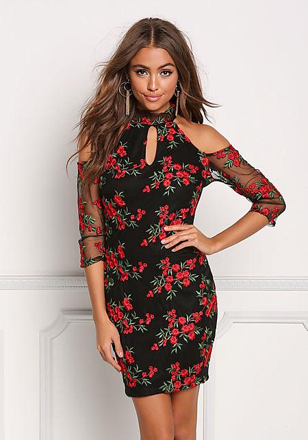 Black Mesh Rose Embroidered Cold Shoulder Dress